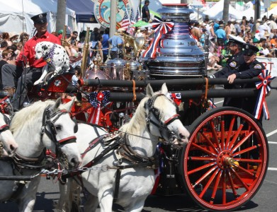 Huntington Beach Parade - Vintage Horse Drawn Fire Engine Truck